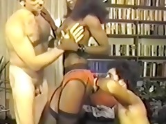 retro black girl between white jocks