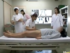 horny asian nurses take turns riding patient