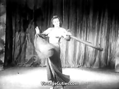 young lady gives a burlesque dance