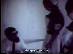 crazy doctor examining beautiful cuties