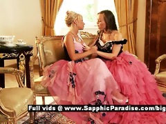 hailee and mya retro lesbian babes giving a kiss