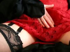 red lacy slide cum