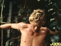 a naked smooth blond sex-slave gets pounded by