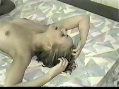 vintage sexy blonde acquires black cock juice in