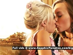 hailee and mya retro lesbian babes kissing and